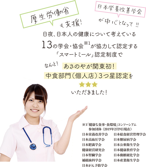 厚生労働省も支援。日本栄養改善学会が中心となって進めています。日夜、日本人の健康について考えている13の学会・協会が協力して認定する「スマートミール」認定制度で「あさのや」が関東初、中食部門(個人店)3つ星認定をいただきました。