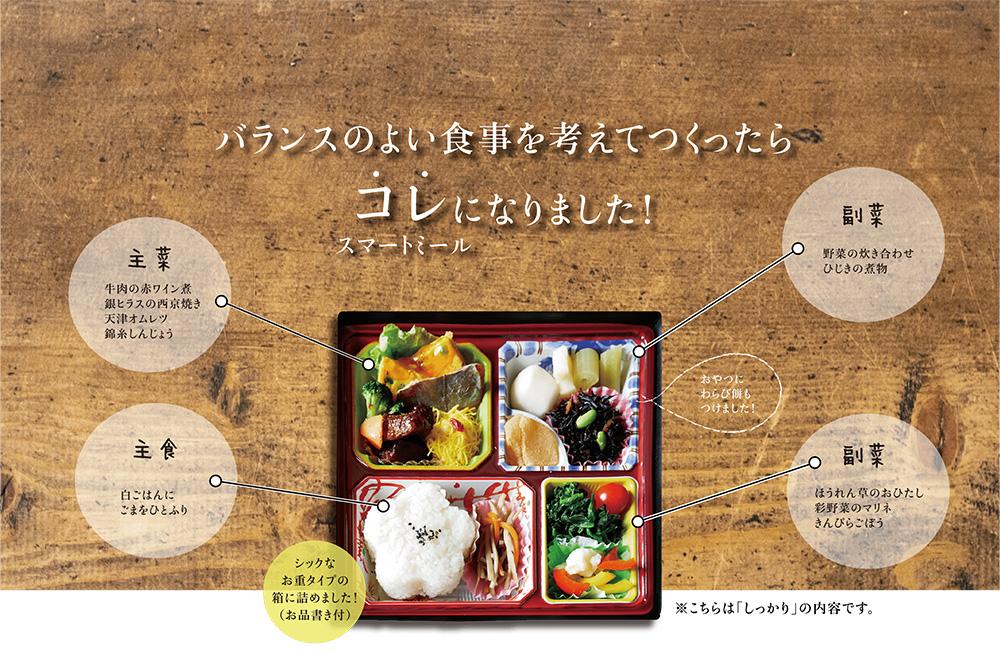 バランスのよい食事を考えてつくったらコレ(スマートミール)になりました。主菜は「牛肉の赤ワイン煮」「銀ヒラスの西京焼き」「天津オムレツ」「錦糸しんじょう」。副菜は「野菜の炊き合わせ」「ひじきの煮物」「ほうれん草のおひたし」「彩野菜のマリネ」「きんぴらごぼう」。主食はしろご飯にごまをひとふり。シックなお重タイプの箱に詰めました!(お品書き付)
