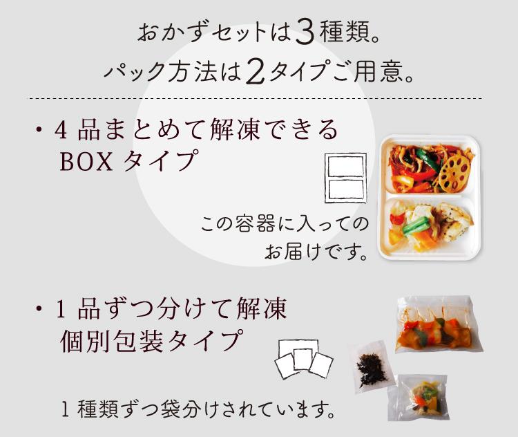 おかずセットは3種類。パック方法は2タイプご用意。4品まとめて解凍できるBOXタイプと1品ずつ分けて解凍できる個別包装タイプがあります。