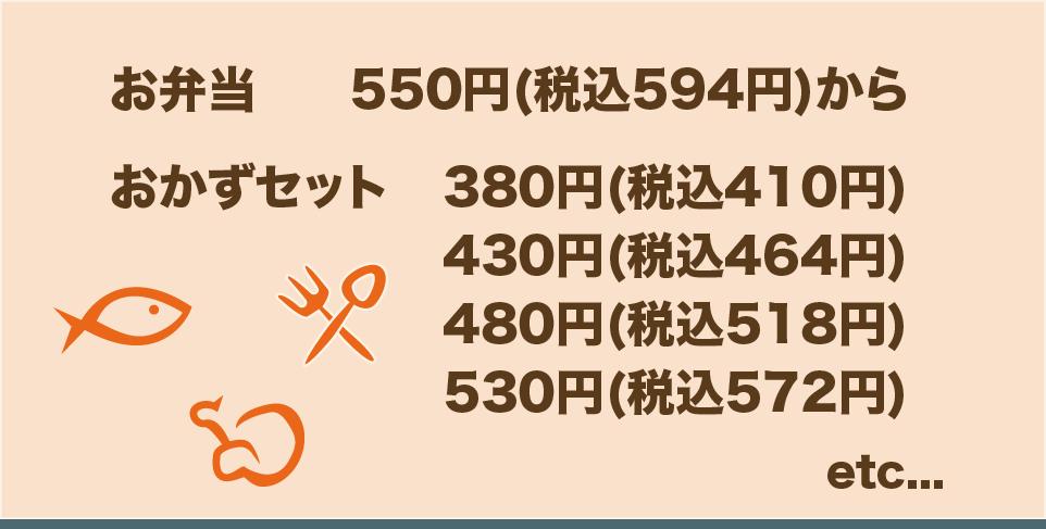 お弁当は550円から。おかずセットは380円、430円、480円、530円になります。他にも色々ありますので、お問い合わせください。